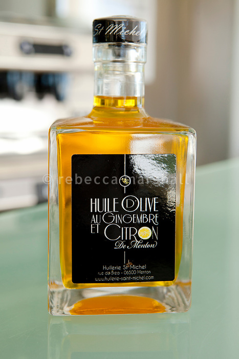 Olive oil, produced locally at the Huilerie St Michel in Menton, at restaurant Mirazur, Menton, France, 18 September 2013. The oil is flavoured with lemon and ginger, and the recipe is the result of a partnership between the olive oil producer and head chef of Mirazur, Mauro Colagreco.