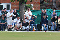 Spectators on the boundary take evasive action as the ball flies towards them during Surrey CCC vs Essex CCC, Specsavers County Championship Division 1 Cricket at Guildford CC, The Sports Ground on 9th June 2017