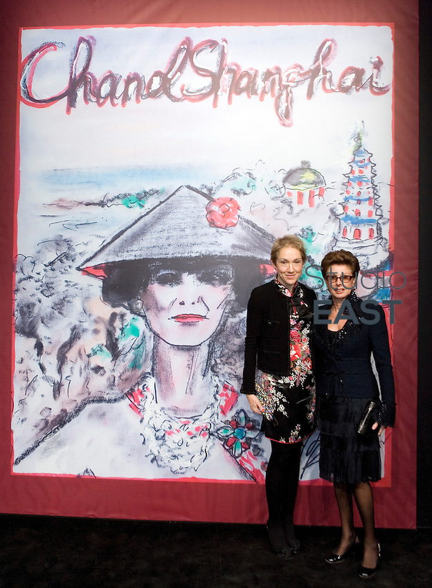 SHANGHAI, CHINA - December 03: Mrs. Clermont-tonnerre (A VERIFIER) and a friend pose for a photograph at Chanel Fashion Show on December 3, 2009 in Shanghai, China. (Photo by Lucas Schifres/Getty Images)