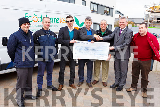 The Bon Secours Hospital Tralee makes a donation to the Kerry Food Share for the sum of €10,000. L-r, Pat Murphy, Brian McCannon, Rob Carey, Junior Locke, Pat Hussey, Owen McCarthy (Mission Leader in Bon Secours Health System) and Paddy Kevane (St Vincent de Paul).