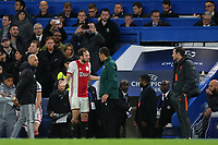 Daley Blind off Ajax talks with the fourth official after he was shown a red card during Chelsea vs AFC Ajax, UEFA Champions League Football at Stamford Bridge on 5th November 2019