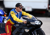 Sep 28, 2013; Madison, IL, USA; NHRA pro stock motorcycle rider Joey DeSantis during qualifying for the Midwest Nationals at Gateway Motorsports Park. Mandatory Credit: Mark J. Rebilas-