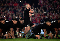 TJ Perenara leads the haka during the 2017 DHL Lions Series rugby union 3rd test match between the NZ All Blacks and British & Irish Lions at Eden Park in Auckland, New Zealand on Saturday, 8 July 2017. Photo: Dave Lintott / lintottphoto.co.nz