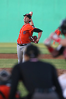 Chris Ellis (28) of the Inland Empire 66ers pitches during a game against the High Desert Mavericks at Mavericks Stadium on May 6, 2015 in Adelanto, California. Inland Empire defeated High Desert, 10-4. (Larry Goren/Four Seam Images)