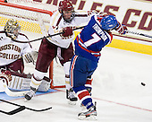 Bill Arnold (BC - 24), Shayne Thompson (UML - 7) - The Boston College Eagles defeated the visiting University of Massachusetts Lowell River Hawks 6-3 on Sunday, October 28, 2012, at Kelley Rink in Conte Forum in Chestnut Hill, Massachusetts.