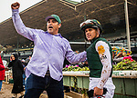 ARCADIA, CA - MARCH 10: Trainer Mick Ruis celebrates winning the inquiry with jockey Javier Castellano after winning the San Felipe Stakes at Santa Anita Park on March 10, 2018 in Arcadia, California.  (Photo by Alex Evers/Eclipse Sportswire/Getty Images)