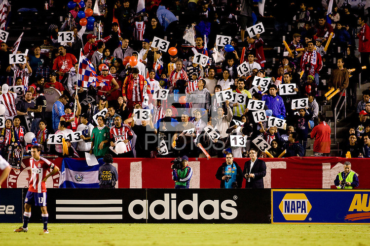CD Chivas USA fans display there support for Jonathan Bornstein (13-red) by holding up number #13 placards during his last game as a Chivas USA players before moving on to Mexico's Primera Division next season joining the Tigres Club. The Chicago Fire defeated CD Chivas USA 3-1 at Home Depot Center stadium in Carson, California on Saturday October 23, 2010.