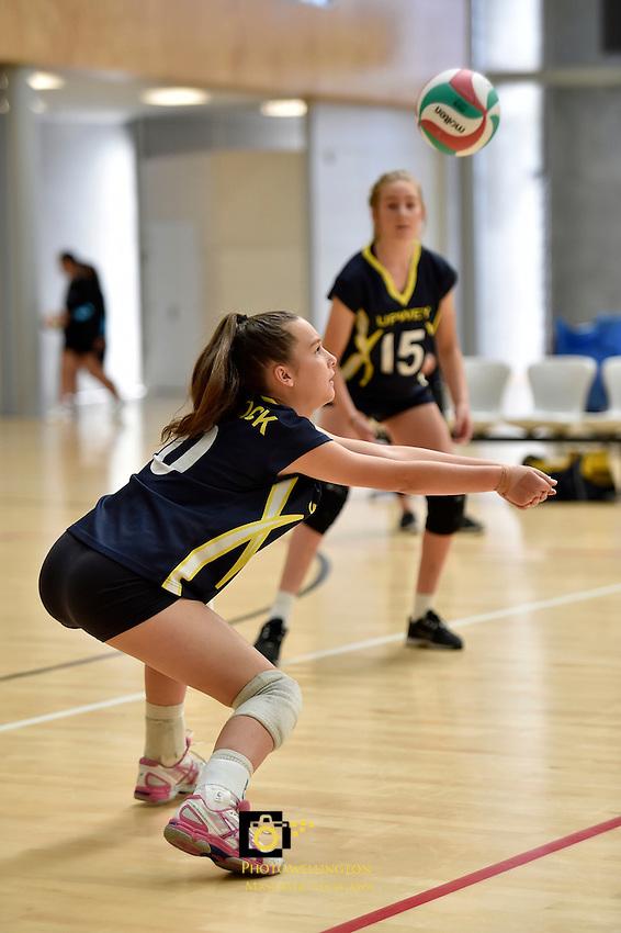 Action from the Volleyball NZ North Island Junior Championships at ASB Sports Centre, Kilbirnie, Wellington, New Zealand on Wednesday 26 November 2014.<br /> Photo by Masanori Udagawa. <br /> www.photowellington.photoshelter.com.