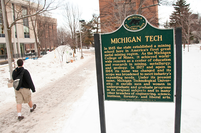 The campus of Michigan Technological University in winter.