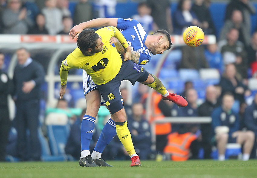 Blackburn Rovers Danny Graham Birmingham City's Harlee Dean<br /> <br /> Photographer Mick Walker/CameraSport<br /> <br /> The EFL Sky Bet Championship - Birmingham City v Blackburn Rovers - Saturday 23rd February 2019 - St Andrew's - Birmingham<br /> <br /> World Copyright © 2019 CameraSport. All rights reserved. 43 Linden Ave. Countesthorpe. Leicester. England. LE8 5PG - Tel: +44 (0) 116 277 4147 - admin@camerasport.com - www.camerasport.com
