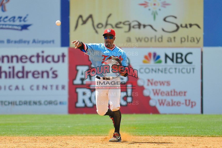 Shortstop Tony Thomas (7) of the New Britain Rock Cats throws to first base during a game against the Reading Fightin Phils at New Britain Stadium on June 22, 2014 in New Britain, Connecticut.   New Britain defeated Reading 5-3. (Gregory Vasil/Four Seam Images)