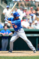 New York Mets outfielder Dustin Lawley #10 during a Spring Training game against the Baltimore Orioles at Ed Smith Stadium on March 30, 2013 in Sarasota, Florida.  (Mike Janes/Four Seam Images)