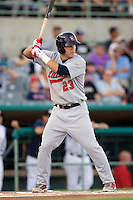 Arkansas Travelers outfielder Mike Trout #23 leads off  the Texas League All Star Game played on June 29, 2011 at Nelson Wolff Stadium in San Antonio, Texas. The South defeated the North 3-2 in the contest. (Andrew Woolley / Four Seam Images)