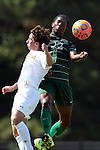 20 September 2015: Stetson's Eli Beates (22) and Campbell's Sam Butts (left). The Campbell University Camels hosted the Stetson University Hatters at Eakes Athletics Complex in Buies Creek, NC in a 2015 NCAA Division I Men's Soccer game. Campbell won the game 1-0.