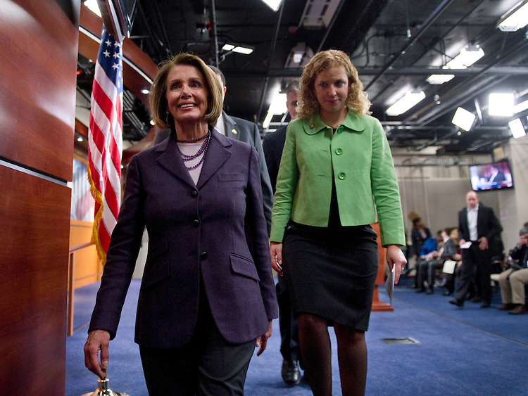 WASHINGTON, DC- Jan. 04: House Minority Leader Nancy Pelosi, D-Calif., and Rep. Debbie Wasserman Schultz, D-Fla., after a news conference of House Democratic leaders for the 112th Congress on their agenda for the first session, which begins Wednesday. (Photo by Scott J. Ferrell/Congressional Quarterly)