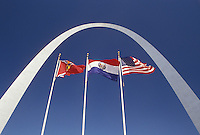 Gateway Arch, St. Louis, MO, Missouri, Flags fly outside the Gateway Arch, Jefferson National Expansion Memorial, in Saint Louis.