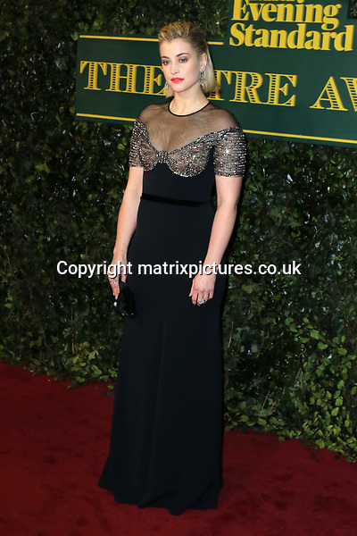 NON EXCLUSIVE PICTURE: MATRIXPICTURES.CO.UK<br /> PLEASE CREDIT ALL USES<br /> <br /> WORLD RIGHTS<br /> <br /> Stefanie Martini attends the Evening Standard Theatre Awards 2017 at Theatre Royal, Drury Lane in London. <br /> <br /> DECEMBER 3rd 2017<br /> <br /> REF: MES 172784