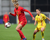 20191008 CLUJ NAPOCA: Belgium's Justine Vanhaevermaet (left) and  Romania's Stefania Vatafu (8) are picture during the match between Belgium Women's National Team and Romania Women's National Team as part of EURO 2021 Qualifiers on 8th of October 2019 at CFR Stadium, Cluj Napoca, Romania. PHOTO SPORTPIX | SEVIL OKTEM