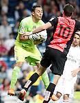 Real Madrid's Keylor Navas (l) and Almeria's Tomer Hemed during La Liga match. April 29,2015. (ALTERPHOTOS/Acero)