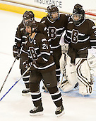 Samantha Stortini (Brown - 24), Paige Pyett (Brown - 2), Jacquie Pierri (Brown - 26), Aubree Moore (Brown - 35) - The Boston College Eagles defeated the visiting Brown University Bears 5-2 on Sunday, October 24, 2010, at Conte Forum in Chestnut Hill, Massachusetts.