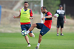 Getafe CF's Francisco Molinero (r) and Jorge Molina during training session. August 1,2017.(ALTERPHOTOS/Acero)