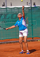 Netherlands, Amstelveen, August 23, 2015, Tennis,  National Veteran Championships, NVK, TV de Kegel,  Final mixed double 65+, Wil Baks<br /> Photo: Tennisimages/Henk Koster