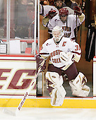 Molly Schaus (BC - 30), Kristina Brown (BC - 2) - The Boston College Eagles and the visiting University of New Hampshire Wildcats played to a scoreless tie in BC's senior game on Saturday, February 19, 2011, at Conte Forum in Chestnut Hill, Massachusetts.