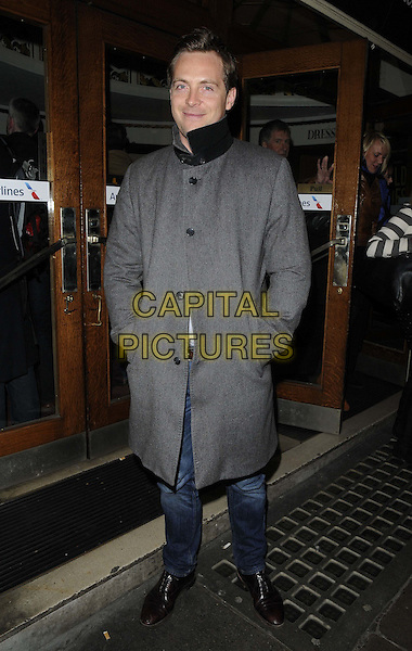 """Stephen Campbell Moore.attended the press night performance of """"Untold Stories"""", Duchess Theatre, Catherine St., London, England..April 2nd, 2013.full length jeans denim grey gray coat hands in pockets .CAP/CAN.©Can Nguyen/Capital Pictures."""