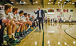 4 February 2014: University of Vermont Catamount Head Coach John Becker addresses the bench during a game against the University of Maine Black Bears at Patrick Gymnasium in Burlington, Vermont. The Cats defeated the Bears 93-65 improving to 9-1 in America East and 15-9 overall. Mandatory Credit: Ed Wolfstein Photo *** RAW (NEF) Image File Available ***