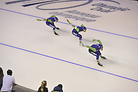 SPEEDSKATING: CALGARY: 14-11-2015, Olympic Oval, ISU World Cup, Men Team Sprint, winners Stefan Groothuis, Kai Verbij, Ronald Mulder, Team NED, ©foto Martin de Jong