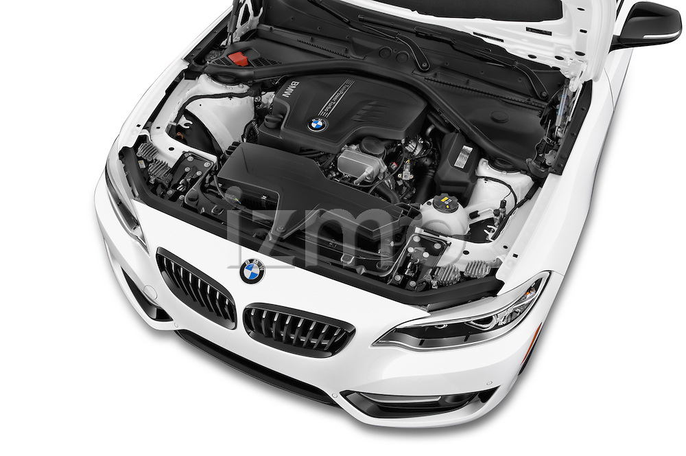 Car Stock 2017 BMW 2-Series 230i 2 Door Coupe Engine  high angle detail view