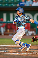 Kenneth Betancourt (9) of the Ogden Raptors bats against the Orem Owlz at Lindquist Field on August 3, 2018 in Ogden, Utah. The Raptors defeated the Owlz 9-4. (Stephen Smith/Four Seam Images)