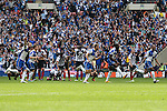 Bristol Rovers celebrate winning the penalty shoot out during the 2015 Vanarama Conference Promotion Final match between Grimsby Town and Bristol Rovers at Wembley Stadium, London<br /> Picture by David Horn/eXtreme aperture photography +44 7545 970036<br /> 17/05/2015