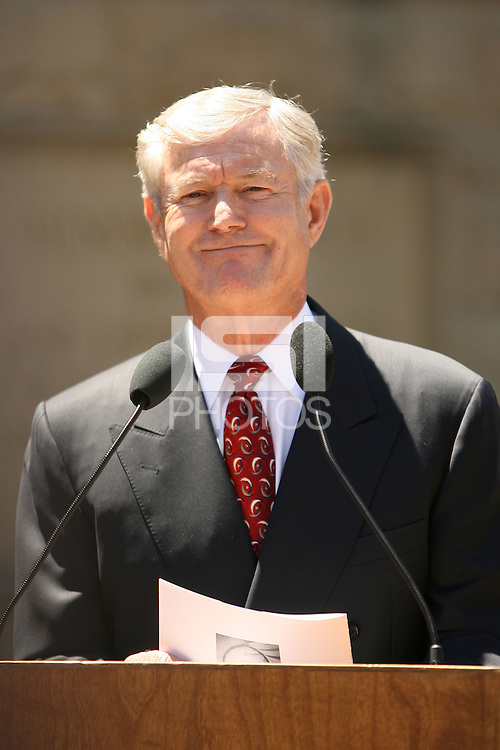9 August 2007: Dick Vermeil addresses the media after the Bill Walsh memorial at Memorial Church on the campus of Stanford University in Stanford, CA.