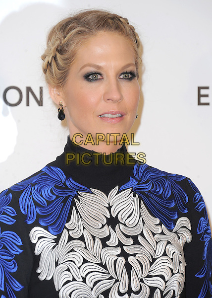 Jenna Elfman.The 21st Annual Elton John AIDS Foundation Academy Awards Viewing Party held at The City of West Hollywood Park in West Hollywood, California, USA..February 24th, 2013.oscars blue black white embroidered high collar headshot portrait braids plaits hair up.CAP/DVS.©DVS/Capital Pictures.