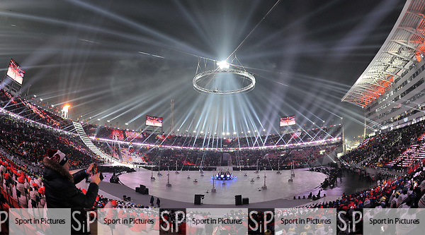Light show. Opening Ceremony. Pyeongchang2018 winter Olympics. Olympic stadium. Pyeongchang. Republic of Korea. 09/02/2018. ~ MANDATORY CREDIT Garry Bowden/SIPPA - NO UNAUTHORISED USE - +44 7837 394578
