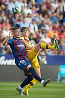 2nd November 2019; Estadi Ciutat de Valencia, Valencia, Spain; La Liga Football, Levante versus FC Barcelona; Elis Bardhi of Levante UD duels with Sergi Roberto of FCB for a high ball - Editorial Use