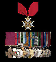 BNPS.co.uk (01202) 558833<br /> Picture: Morton&amp;Eden/BNPS<br /> <br /> ****Please use full byline****<br /> <br /> British record price paid for VC today as Lord Ashcroft snaps up Lt John Grant's Tibet medal.<br /> <br /> Grant's unique Tibet Victorial medal group (Top) Victoria Cross, (L-R) The Most Honourable Order of the Bath Military Division, DSO, Gurkha Rifles; 1914-15 Star; British War Medal, Victory Medal with emblem, India General Service with clasps for Afghanistan, Tibet 1903-1904 with clasp for Gyantse, Defence Medal, Silver Jubilee Medal, and 1937 and 1953 Coronation Medals.<br /> <br /> A Victoria Cross won by a British army officer who scaled a 60ft rock face to take an enemy fort despite being shot is has sold for &pound;408,000 today.<br /> <br /> Lieutenant John Grant led a company of Gurkha soldiers in the near-suicidal raid in Tibet that saw many of them picked off by enemy fire or thrown off the precipice by falling rock.<br /> <br /> Despite being shot in the leg and plunging down the incredibly steep cliff, Lt Grant scaled it a second time and made it to the top.<br /> <br /> He gained a valuable foothold that enabled reinforcements to reach the summit and take the walls of the fort and then the fort itself.