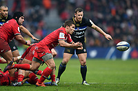 Antoine Dupont of Toulouse passes the ball. Heineken Champions Cup match, between Stade Toulousain and Bath Rugby on January 20, 2019 at the Stade Ernest Wallon in Toulouse, France. Photo by: Patrick Khachfe / Onside Images