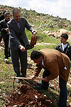 Palestinians plant trees during an event marking Land Day ,in the village of  Kufr Diek , West Bank, Thursday , March 29, 2011. Land Day commemorates the killing of six Arab citizens of Israel by the Israelis on March 30, 1976 during protests over confiscations of Arab land.  Photo by Wagdi Eshtayah