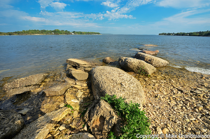 Lake Winnipeg's rocky shoreline<br /> GRand Rapids<br /> Manitoba<br /> Canada