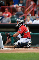 Erie SeaWolves catcher Tim Remes (39) awaits the pitch during a game against the Akron RubberDucks on August 27, 2017 at UPMC Park in Erie, Pennsylvania.  Akron defeated Erie 6-4.  (Mike Janes/Four Seam Images)