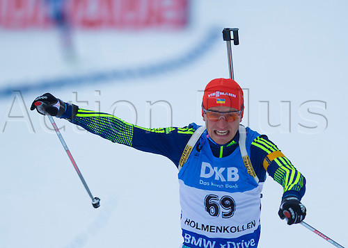 05.03.2016. Oslo Holmenkollen, Oslo, Norway. IBU Biathlon World Championships. Sergey Semenov of Ukraine competes in the men 10km sprint competition during the IBU World Championships Biathlon in Holmenkollen Oslo, Norway.