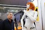 "January 16, 2019, Tokyo, Japan - Japanese robot venture Speecys president Tomoaki Kasuga displays life-sized mannequin robot ""Kosoka Cocona"" which has 37 actuators and make various posing and dancing at an robot exhibition Robodex in Tokyo on Wednesday, January 16, 2019. Some 220 robot companies display their recent products and technlogies at a three-day exhibition.   (Photo by Yoshio Tsunoda/AFLO) LWX -ytd"