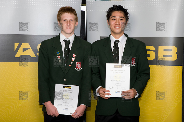 Boys Badminton finalists Ethan Haggo & Evan Lee. ASB College Sport Young Sportperson of the Year Awards 2008 held at Eden Park, Auckland, on Thursday November 13th, 2008.