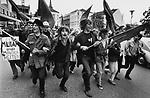 Germany, Bonn, May 1968, &quot;March to Bonn&quot;, demonstration against distress-emergency-law, young men demonstrating, running with black flags through the city.<br /> <br /> | Deutschland , Bonn, Studentenrevolte, &quot;Marsch auf Bonn&quot; gegen Notstandsgesetze, Mai 68, Demonstration, Demonstranten rennen mit schwarzen Fahnen durch die Stadt, 68er Generation, Revolte.<br /> 11.05.1968<br /> <br /> Graustufen, grayscale, 48 MB.<br /> Copyright: Wolfgang Kunz
