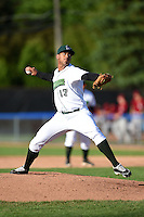 Jamestown Jammers pitcher Luis Urena (17) delivers a pitch during a game against the Mahoning Valley Scrappers on June 15, 2014 at Russell Diethrick Park in Jamestown, New York.  Jamestown defeated Mahoning Valley 9-4.  (Mike Janes/Four Seam Images)