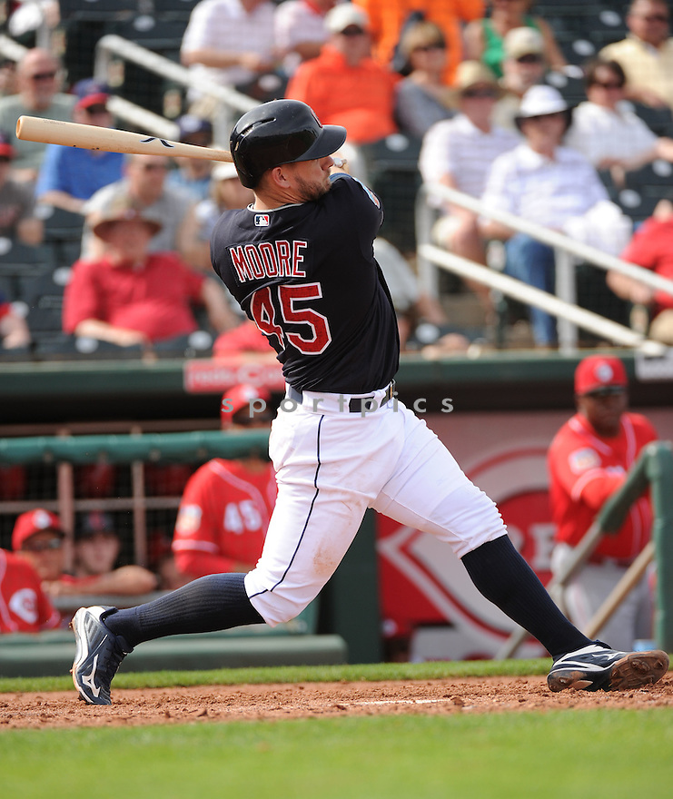 Cleveland Indians Adam Moore (45) during a pre-season game against the Cincinnati Reds on March 1, 2016 at Goodyear Ballpark in Goodyear, AZ. The Reds beat the Indians 6-5.