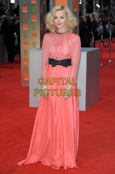 Fearne Cotton .The Orange British Academy Film Awards ( BAFTA ), Royal Opera House, Bow St., London, England..February 12th, 2012.baftas full length black bow pink red dress coral side necklace  maxi  long sleeve bracelets .CAP/PL.©Phil Loftus/Capital Pictures.