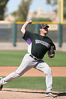 Alan DeRatt #64 of the Colorado Rockies plays in a minor league spring training game against the San Francisco Giants at the Giants complex on March 30, 2011  in Scottsdale, Arizona. .Photo by:  Bill Mitchell/Four Seam Images.
